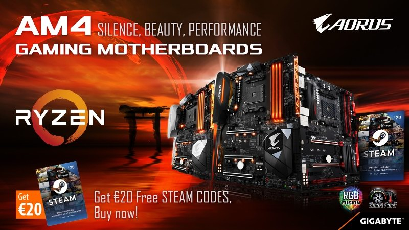 Buy GIGABYTE / AORUS Gaming Motherboards and get FREE Steam vouchers